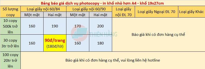 Bảng giá dịch vụ photocopy A4 khổ 19x27