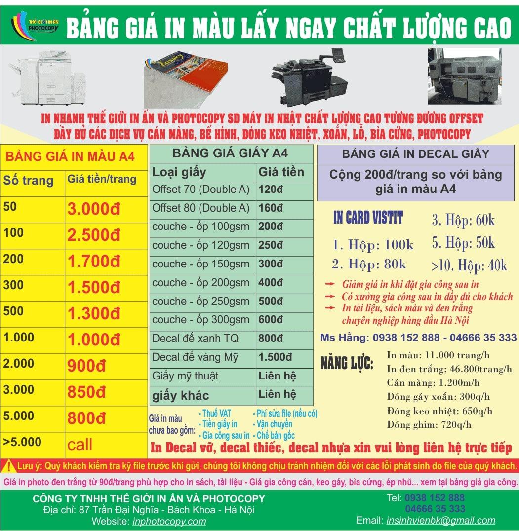 Bảng giá in catalogue giá rẻ tại hà nội