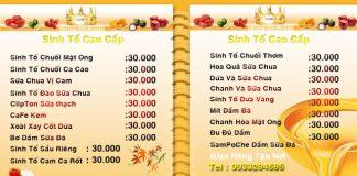 Menu cafe đẹp giá rẻ tại Hà Nội