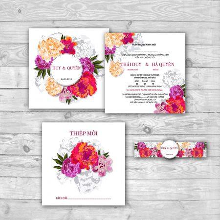 Thiệp cưới mang màu sắc của hoa