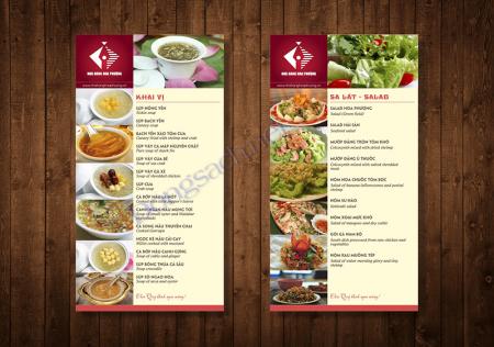 Thiết kế menu nhà hàng khổ nhỏ